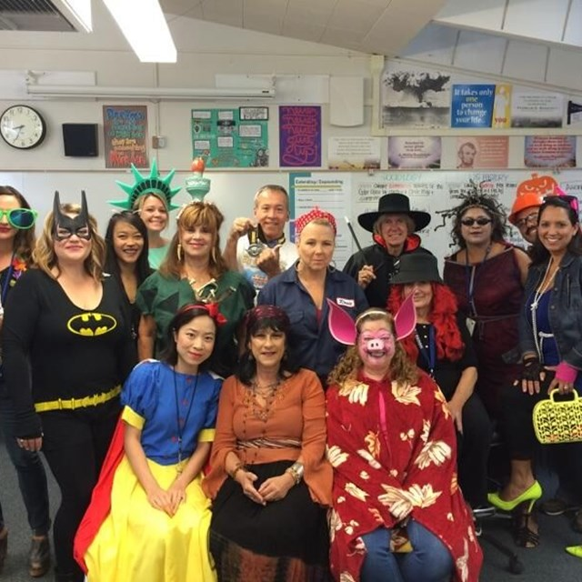 Our wonderful teachers are proud to show off their silly costumes on Halloween!
